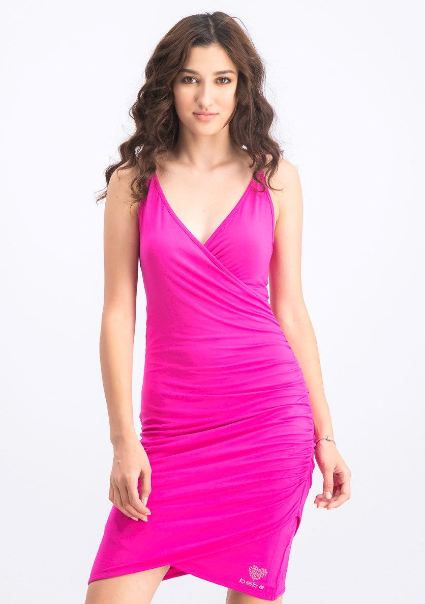 Women's Ruched Wrap Rhinestone Strap Dress, Very Berry