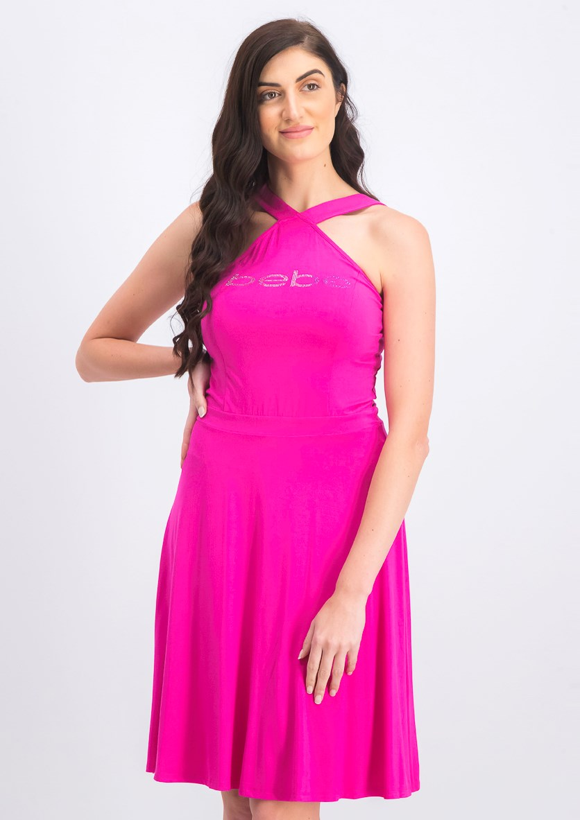 Women's Halter Fit And Flare Dress, Pink