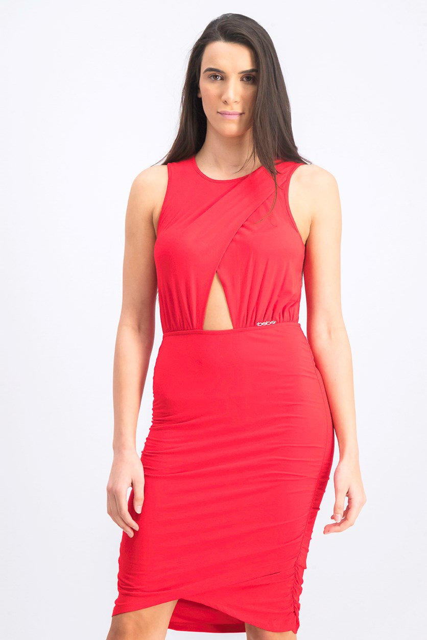 Women's Ruched Keyhole Dress, Red