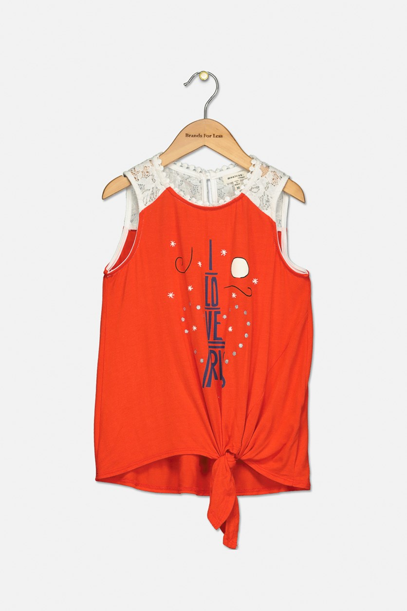 Big Girls Sleeveless Tie Front Top, Orange