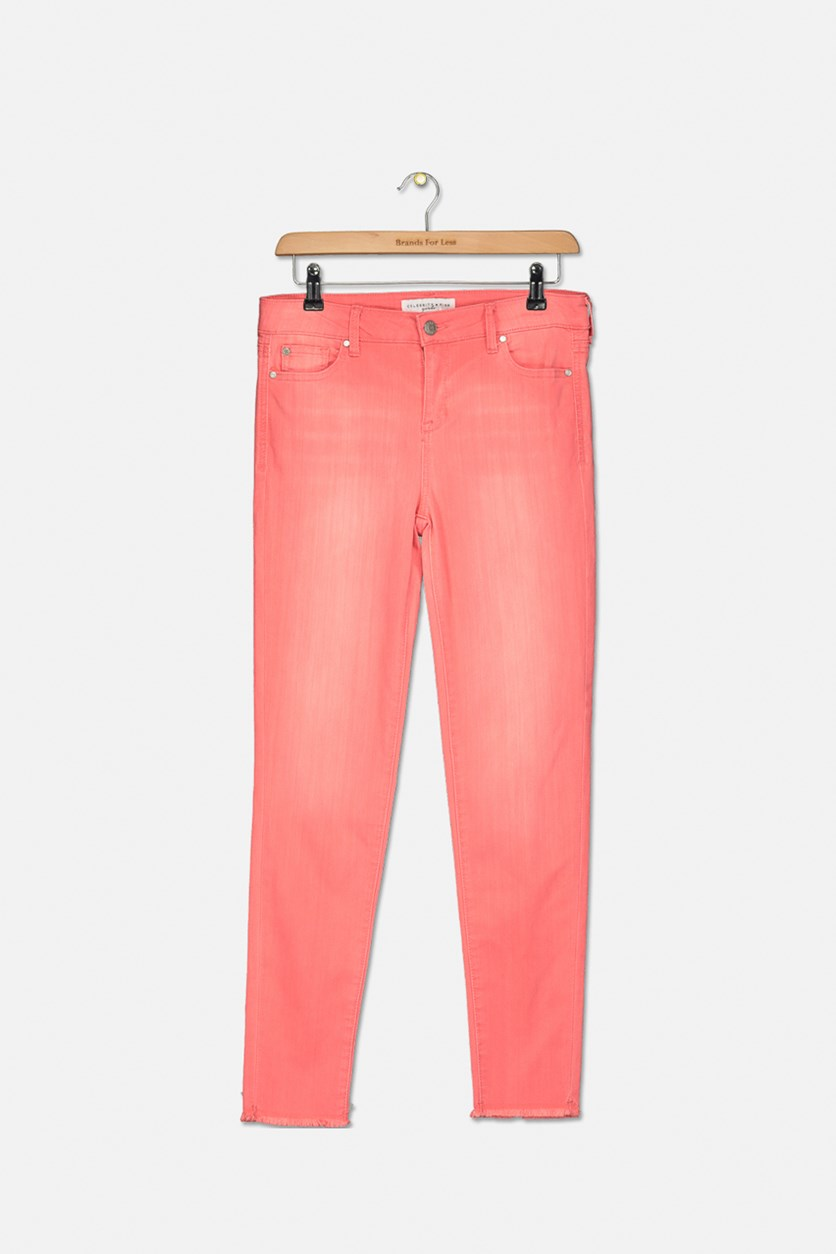 Girl's Skinny Ankle Jeans, Coral Light