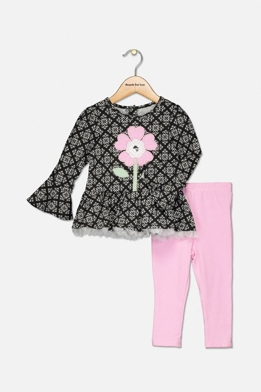 Baby Girls 2-Pc. Flower Tunic & Leggings Set,  Black/pink