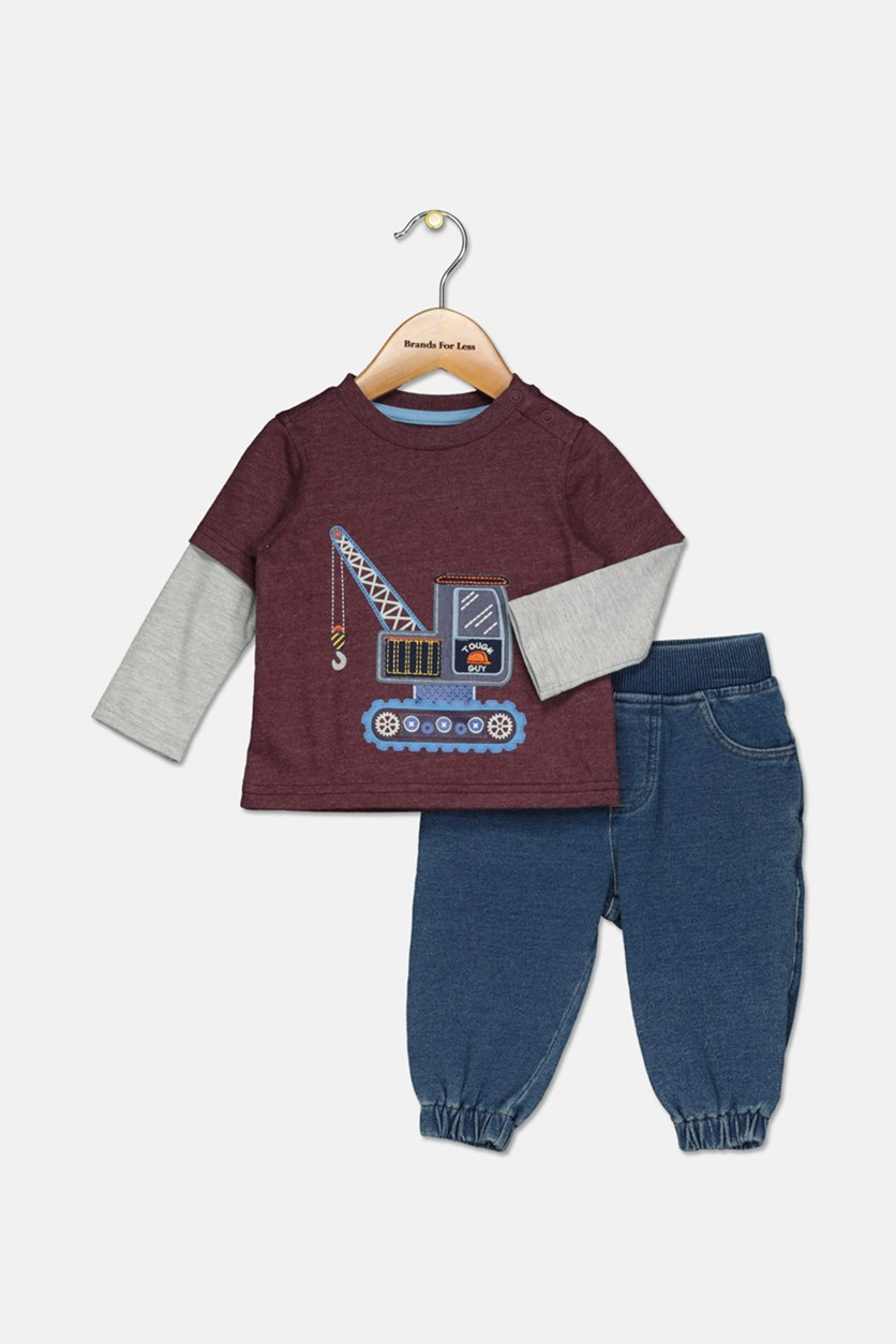 Baby Boys 2-Pc. Layered-Look T-Shirt & Jeans Set, Maroon/Navy/Grey
