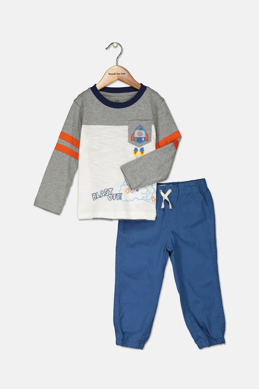 Toddler Boys 2-Pc. Long-Sleeve T-Shirt & Pants Set, Blue/Grey/White