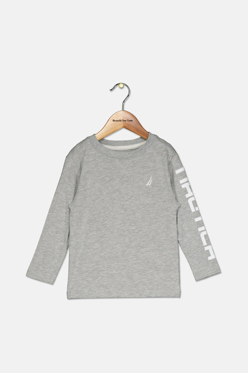 Toddler Boys' Shaun Long-Sleeve Logo Tee, Grey Heather