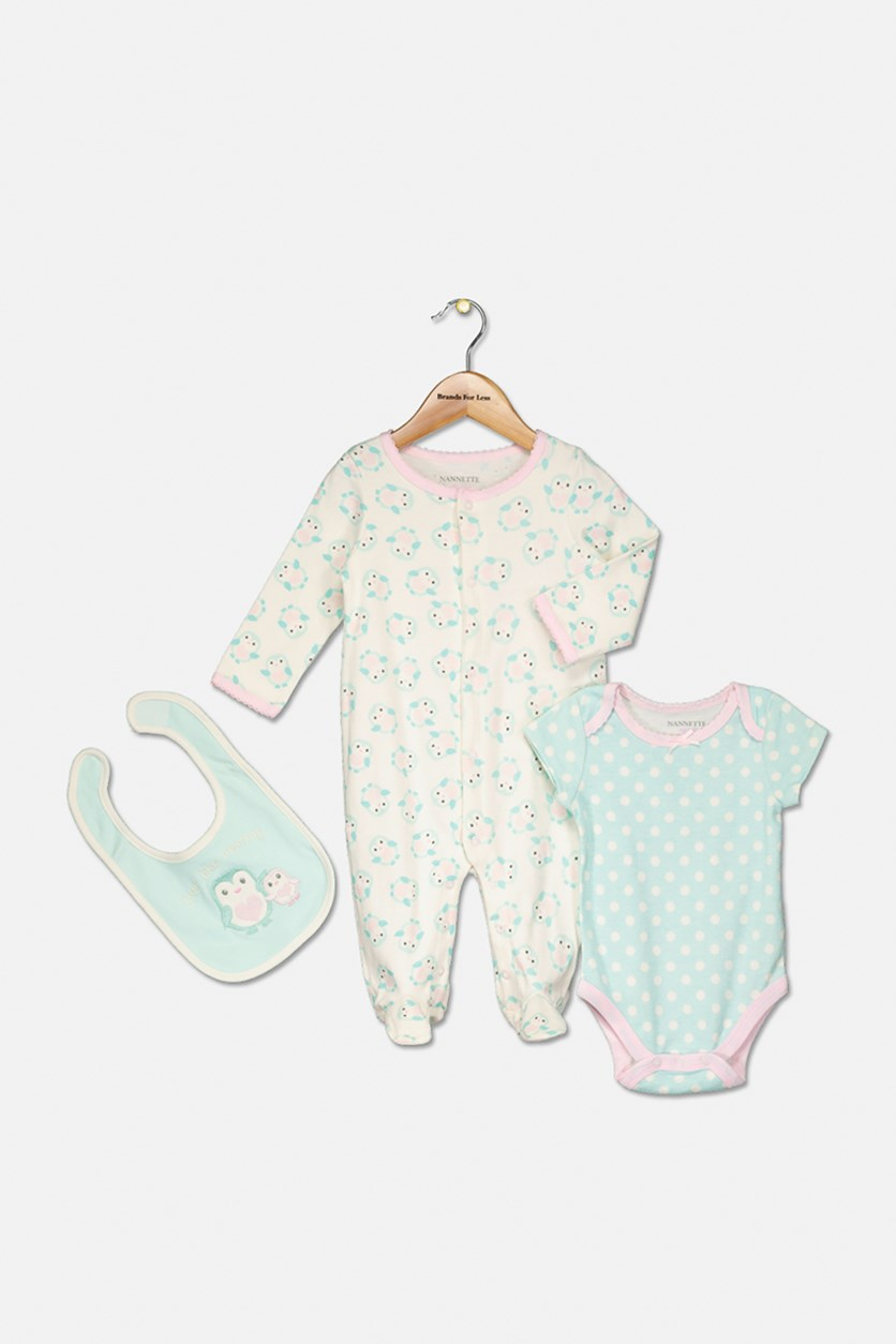 Baby Girl Knit Coverall, Knit Creeper And Knit Bib Set, Offwhite/Aqua