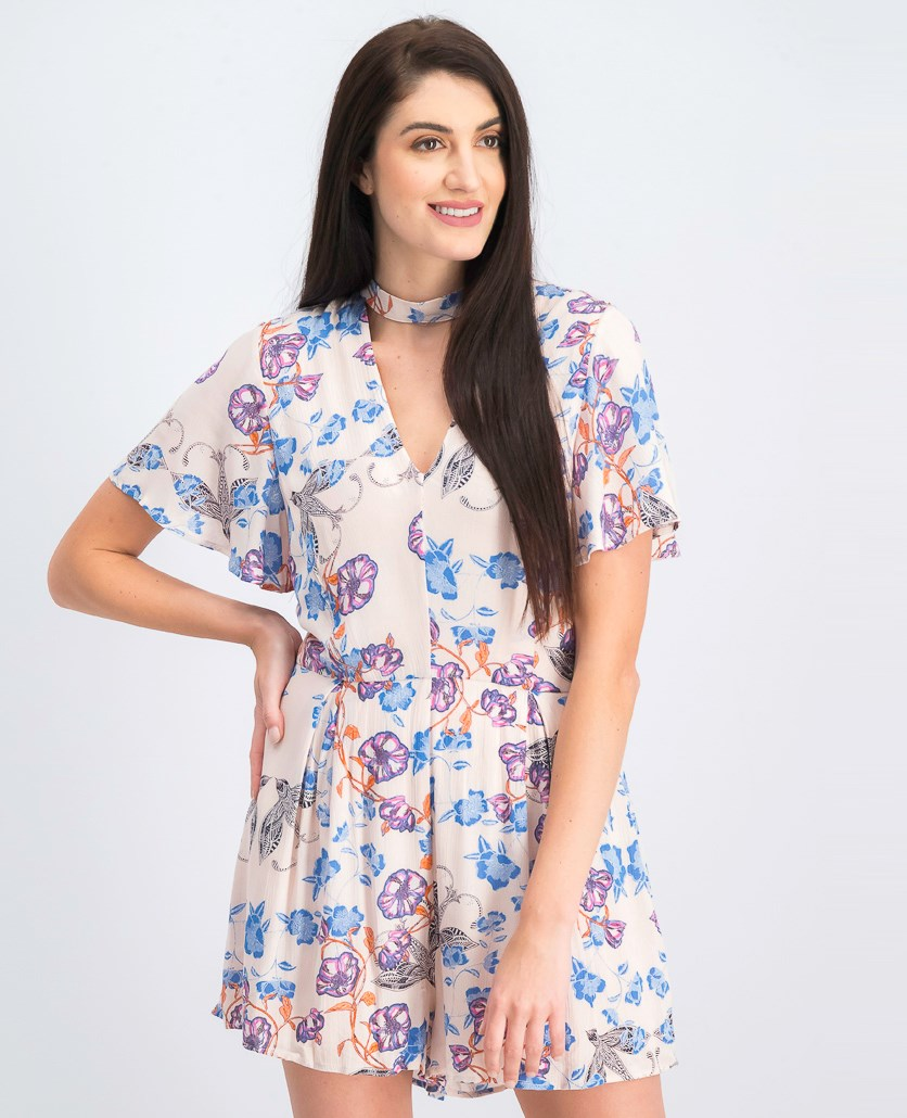 Womens Floral Print Choker Romper, Floral Pink