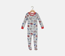 Toddlers Allover Print Sleepwear Bodysuit, Gray Combo