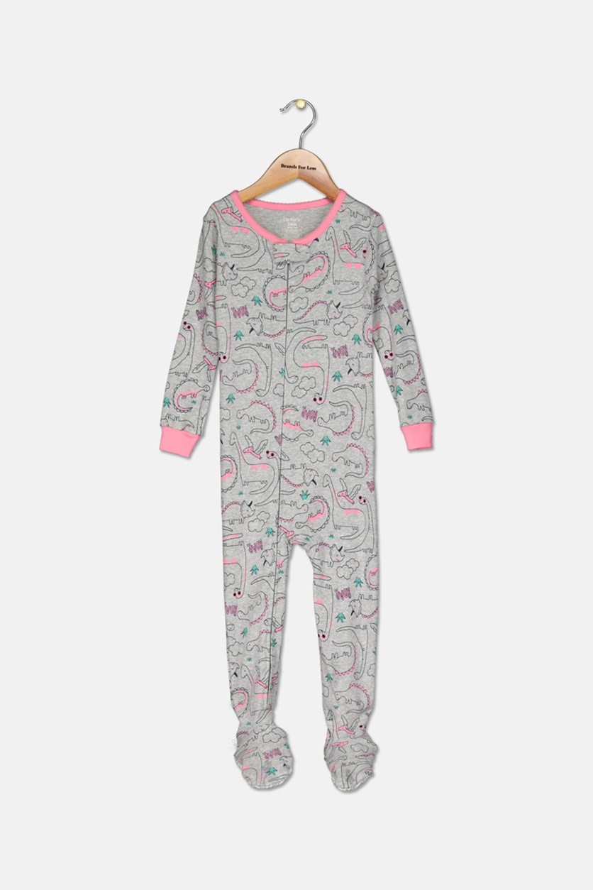 Baby Girl Dinosaur Footed Pajamas, Gray/Pink