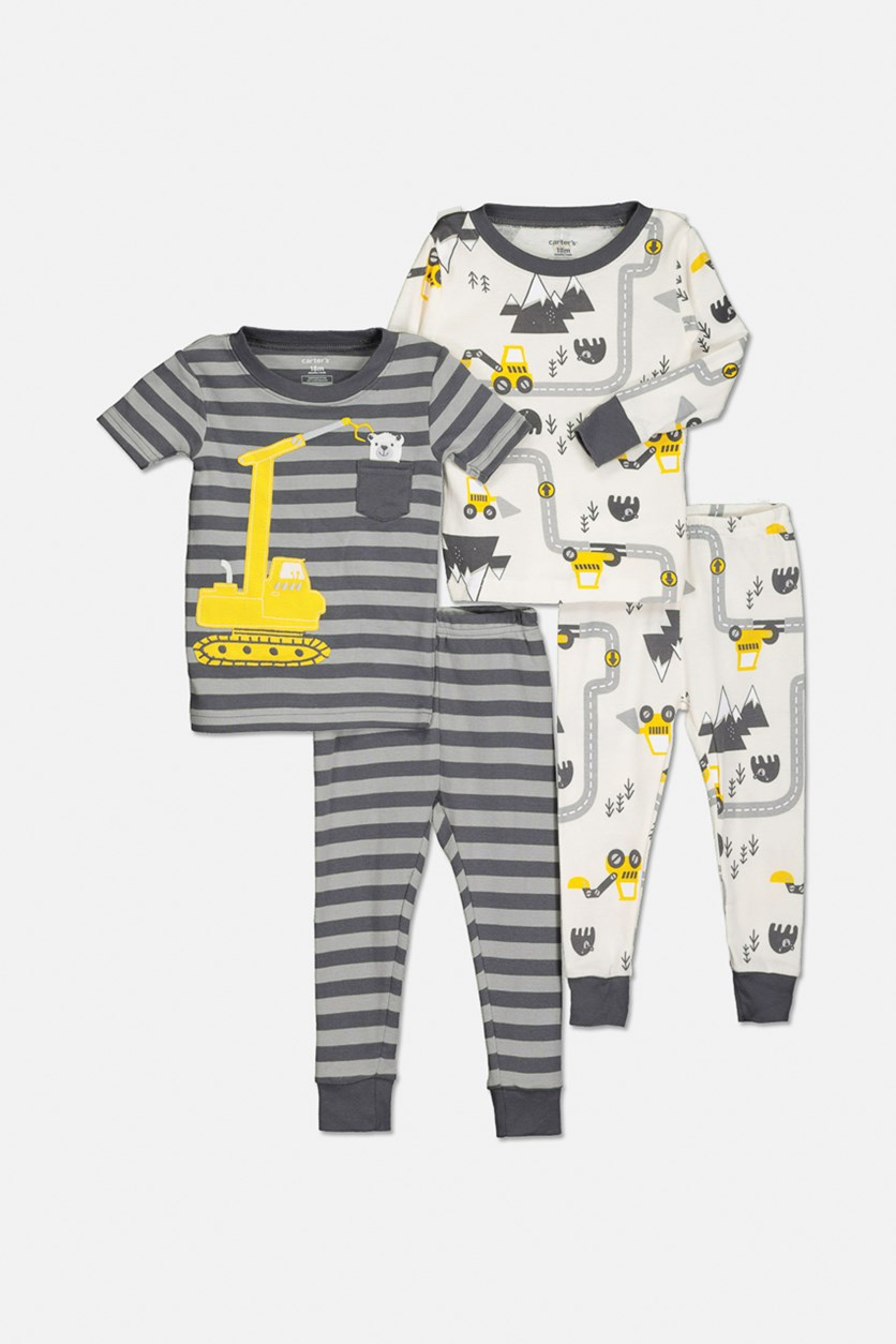 Little Boys Construction Mountain 4-Piece Pajama Set, Grey