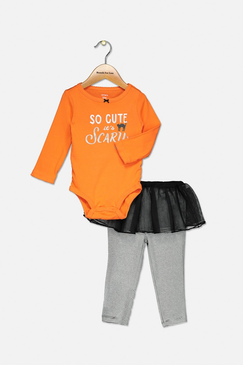 Baby Girls 2-Pcs. Bodysuit & Tutu Pants Set, Orange/Black