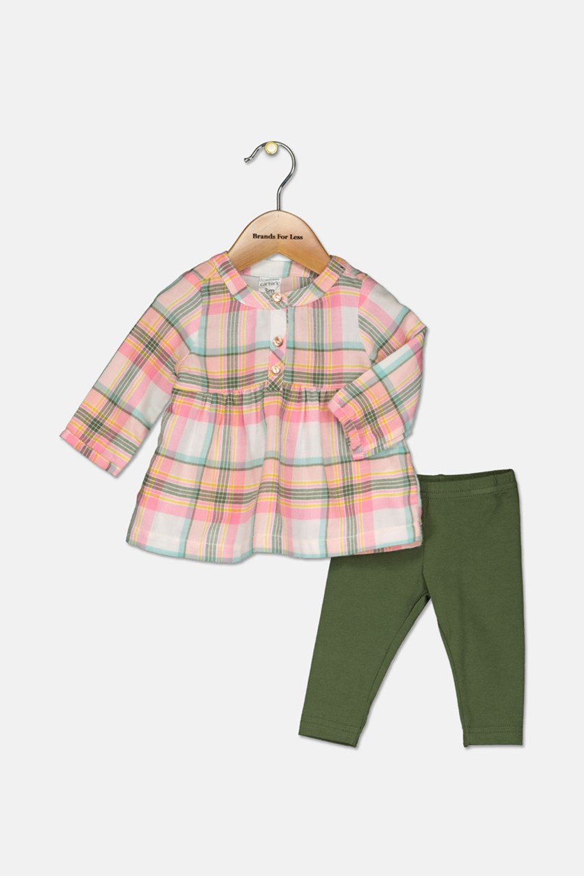 Baby Girls 2-Pc. Plaid Flannel Tunic & Leggings Set, Plaid