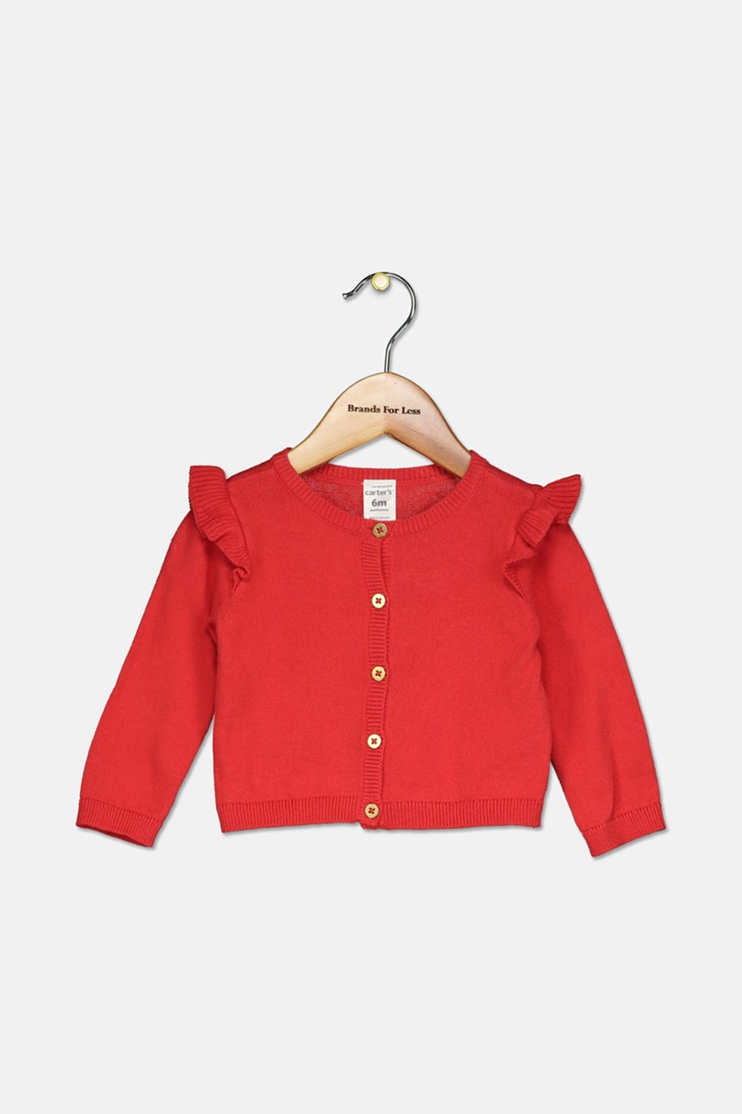 Baby Girls Ruffled Cotton Cardigan, Red