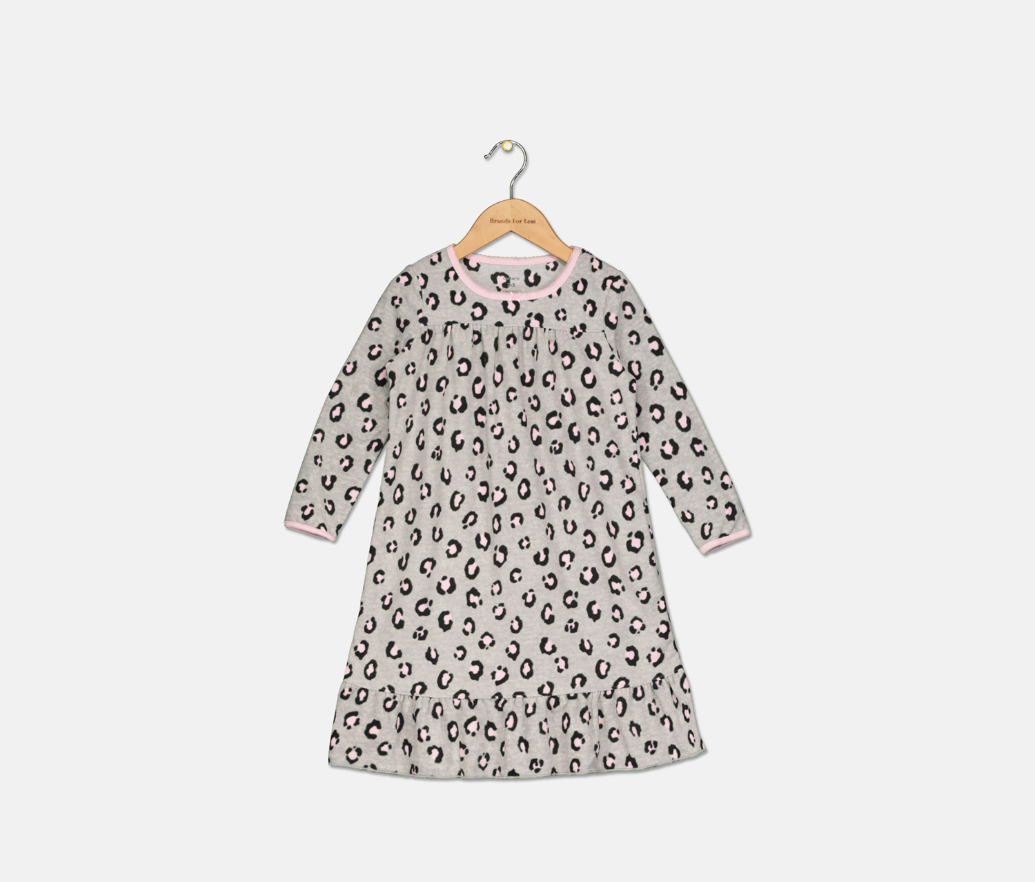 Toddler Girls Printed Fleece Nightgown, Grey