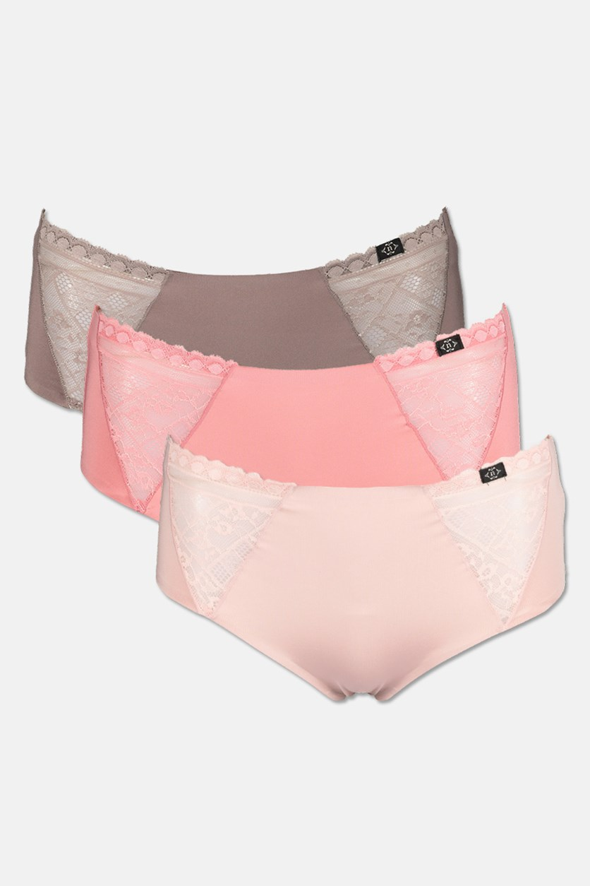 Women's 3 Pack Micro Lace Laser Underwear, Dark Pink/Light Pink/Pewter