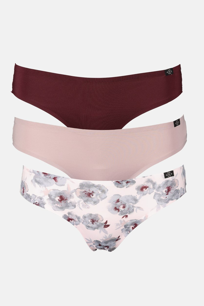 Women's 3 Pack Floral Print Micro Lace Laser Underwear, Pink/Maroon/Dusty Pink