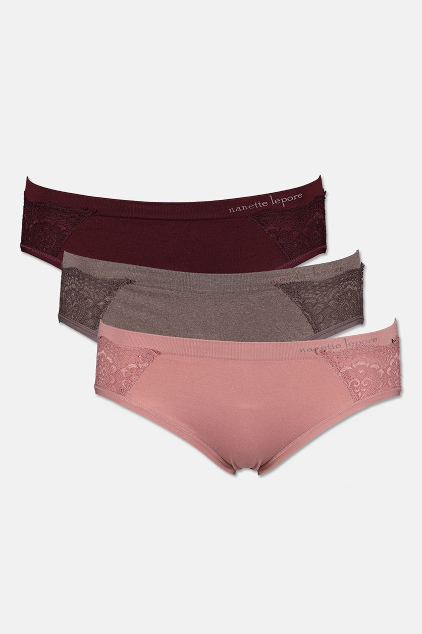 Women's 3 Pack micro Lace Laser Underwear, Maroon/Pink/Heather Brown