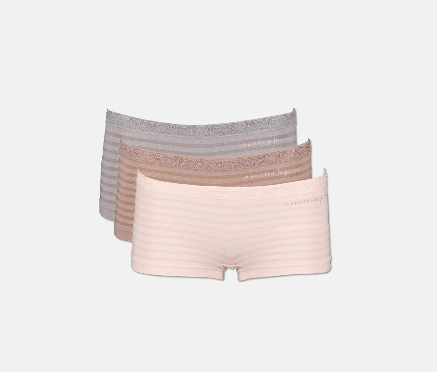 Women's 3 Pack Seamles Micro Lace Underwear, Dusty Pink/Light Pink/Blue-Gray
