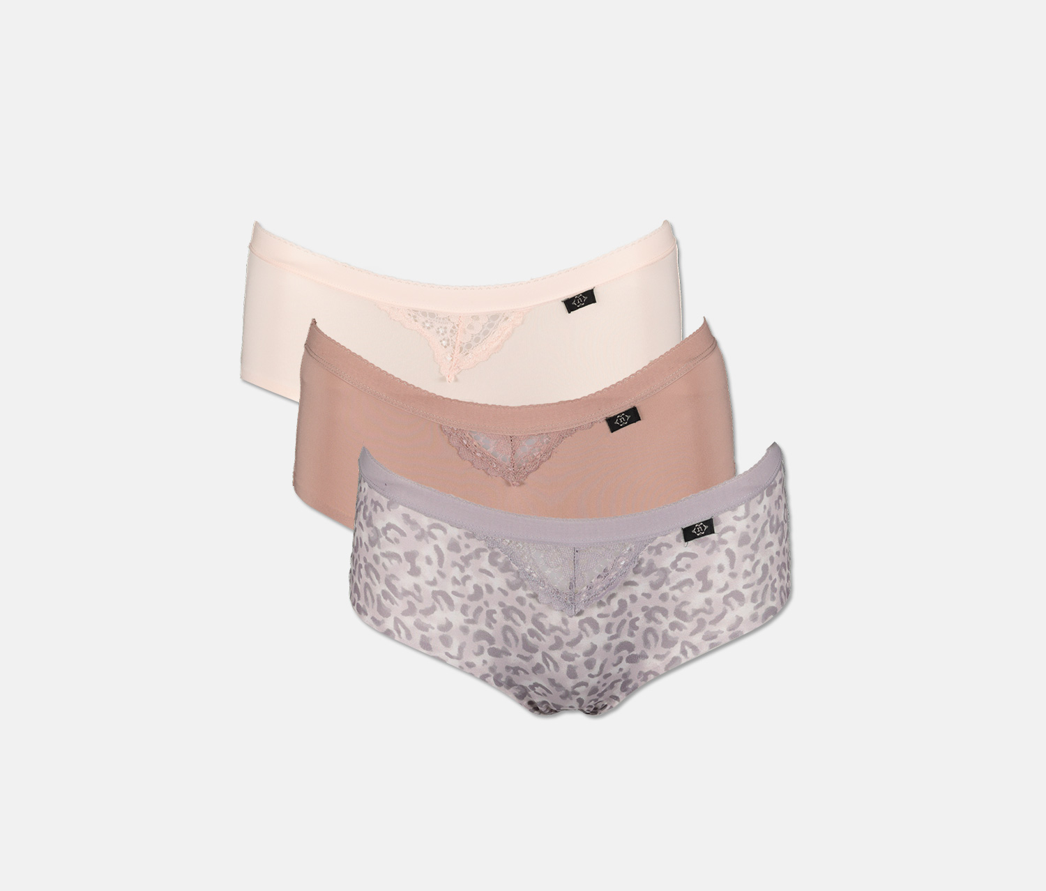 Women's 3 Pack Micro Lace Laser, Leopard Gray/Pink/Brown