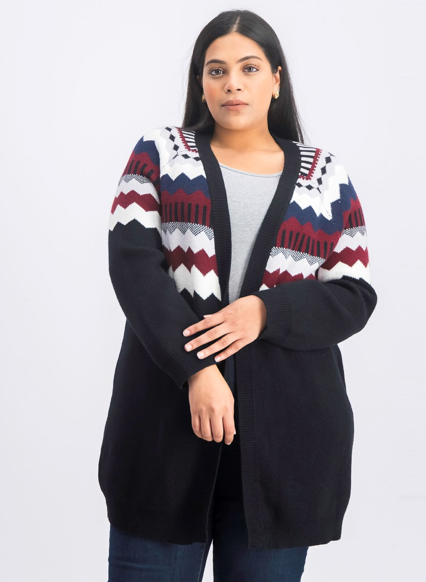Women's Plus Size Textured Cardigan, Black Combo