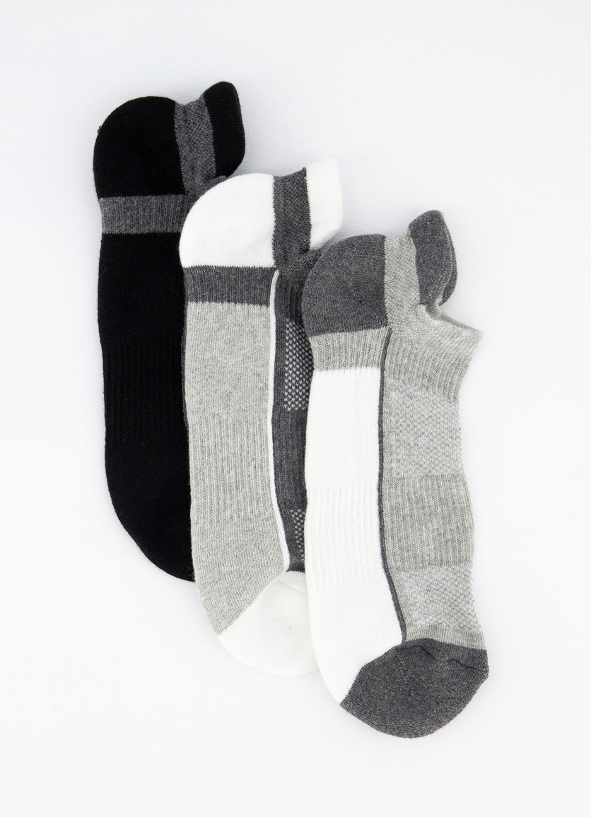 Men's 3 Pairs Ankle Sports Socks, Black/Grey/White
