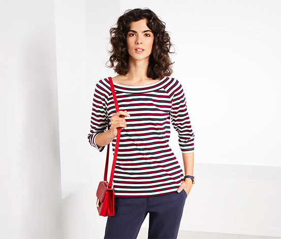 Women's Striped Top, Red/White