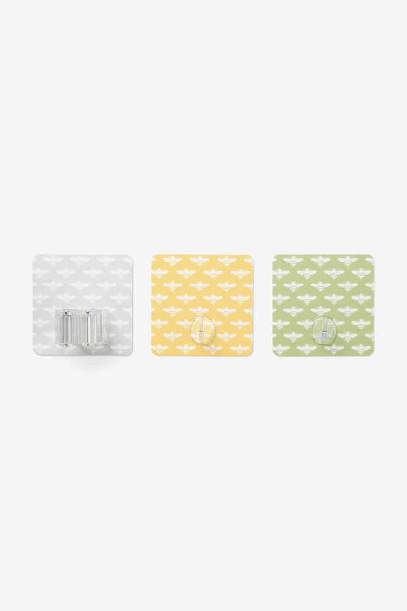 Self-Adhesive Wall Hooks And Holder, Yellow/Lime/Gray