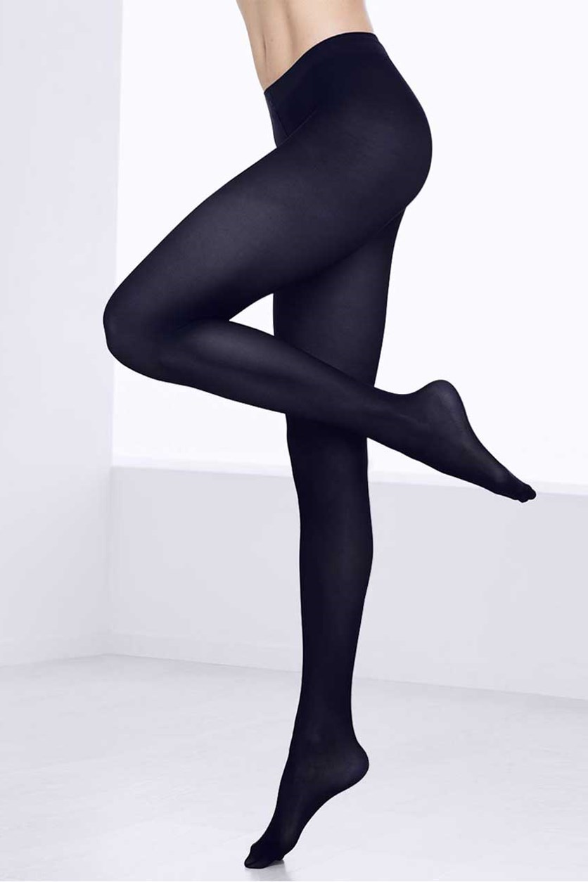Women's 2 Pairs of Tights, Blue/Black