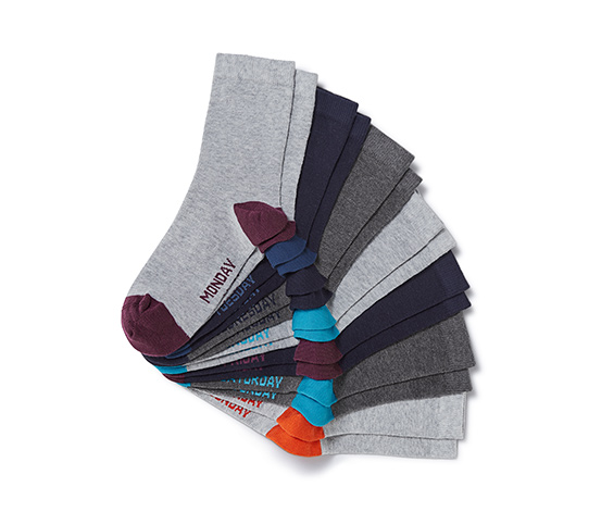Girl's 7 Pairs Of Socks, Grey/Blue/Navy