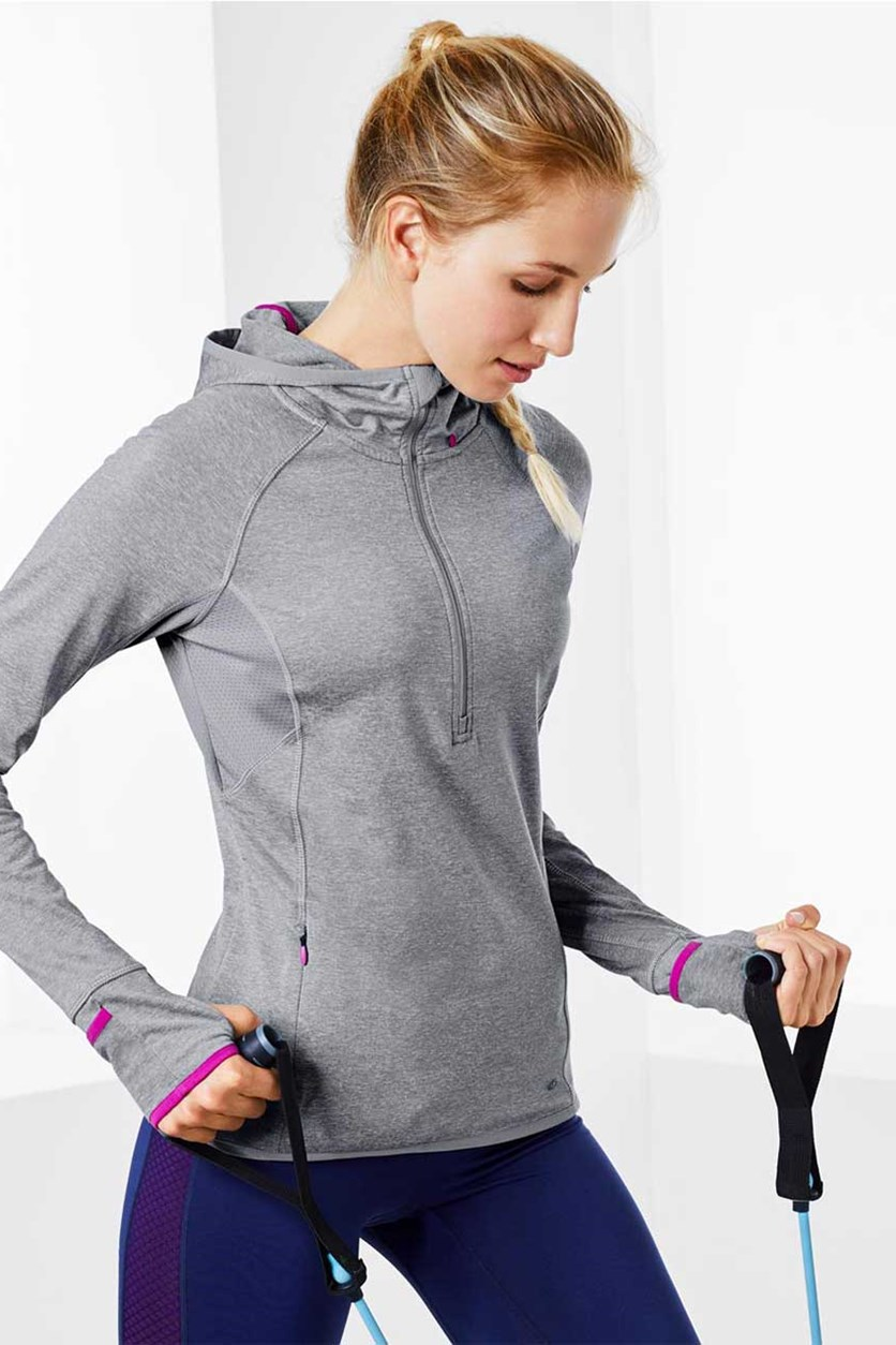 Women's Thermal Hooded Running Top, Grey