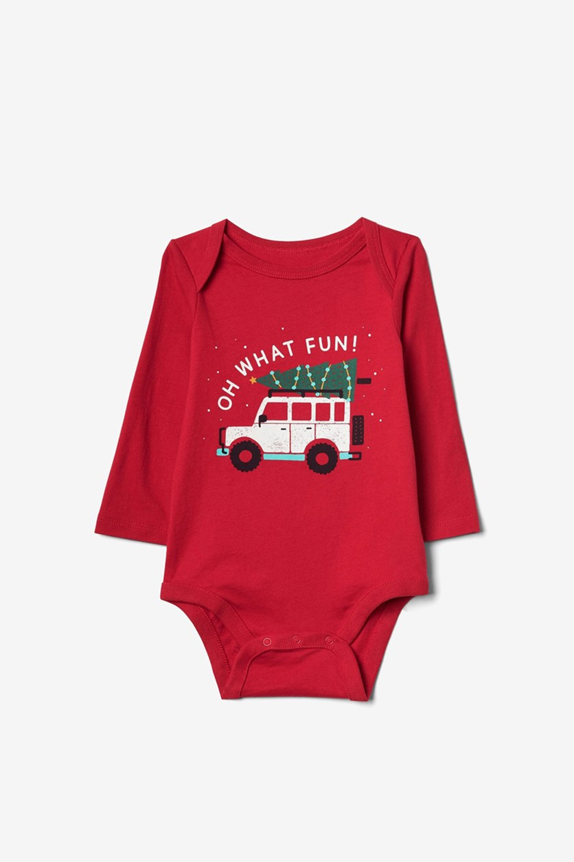 Toddler's Graphic Print Bodysuit, Red
