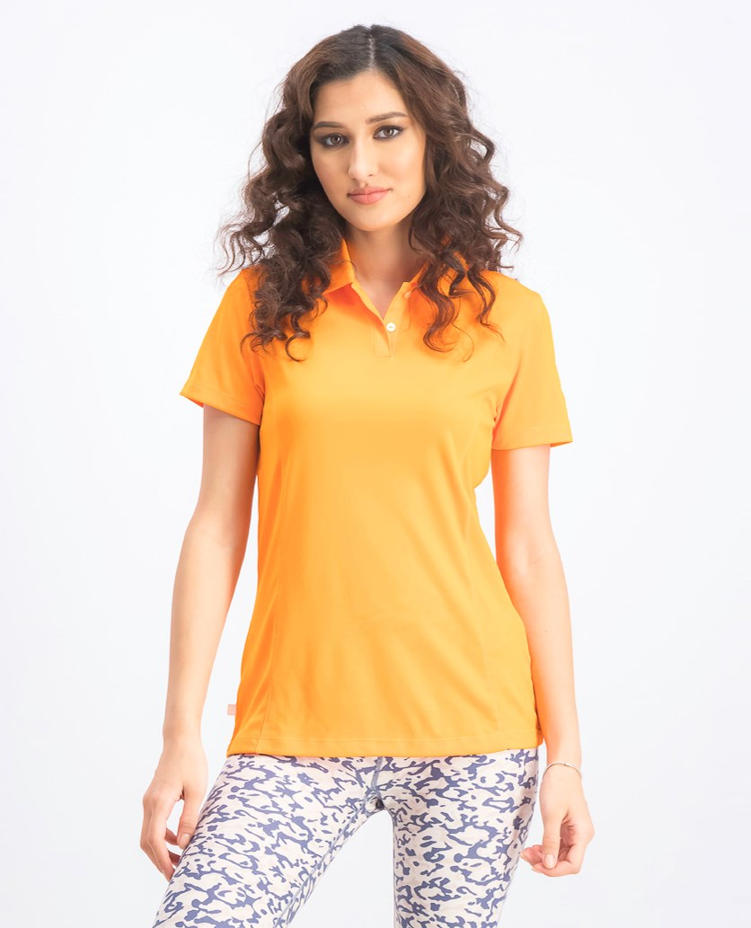 Women's Essential Pounce Polo, Vibrant Orange