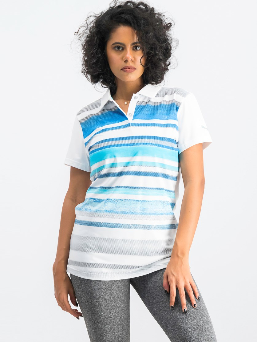 Women's Washed Stripe Polo, White