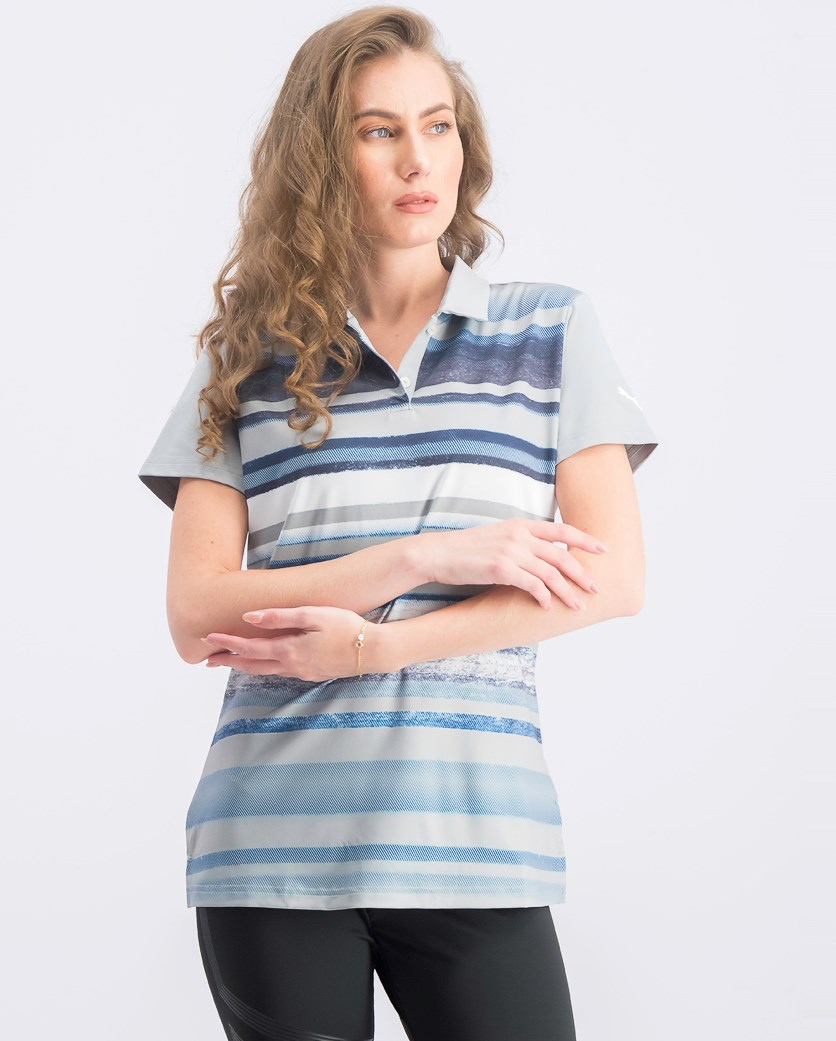 Women's Washed Stripe Polo, Quarry