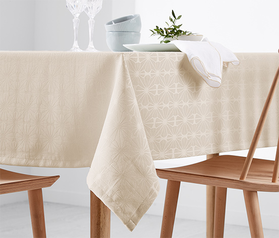 Jacquard Woven Party Table Cloth, Beige