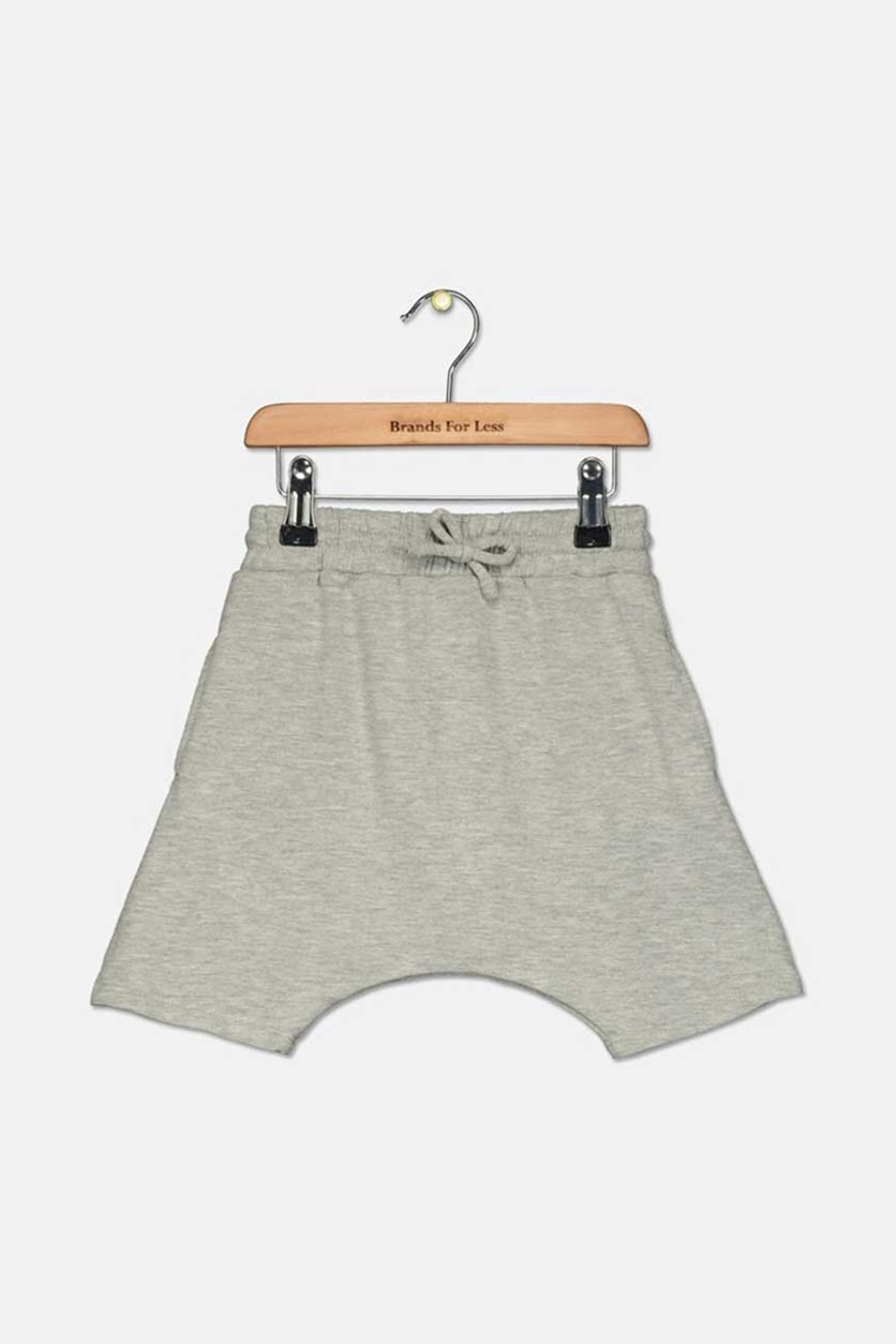 Boys' Drop Crotch Jogger Shorts, Light Pebble Gray