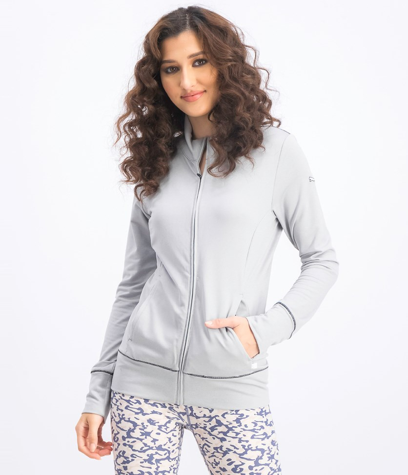 Women's Golf Track Jacket, Heather Grey