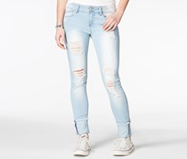 Indigo Rein Juniors's Ripped Cuffed Skinny Jeans, Light Blue
