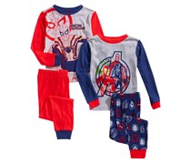Toddlers Boys 4-Pc. Cotton Avengers Pajama Set, Blue/Red