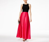 Betsy Adam LAmour Colorblock Ball Gown, Black/Cerise