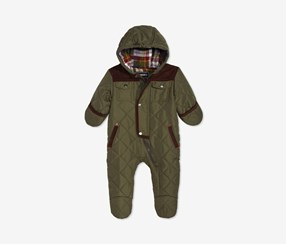 Baby Boys Hooded Quilted Footed Pram, Olive