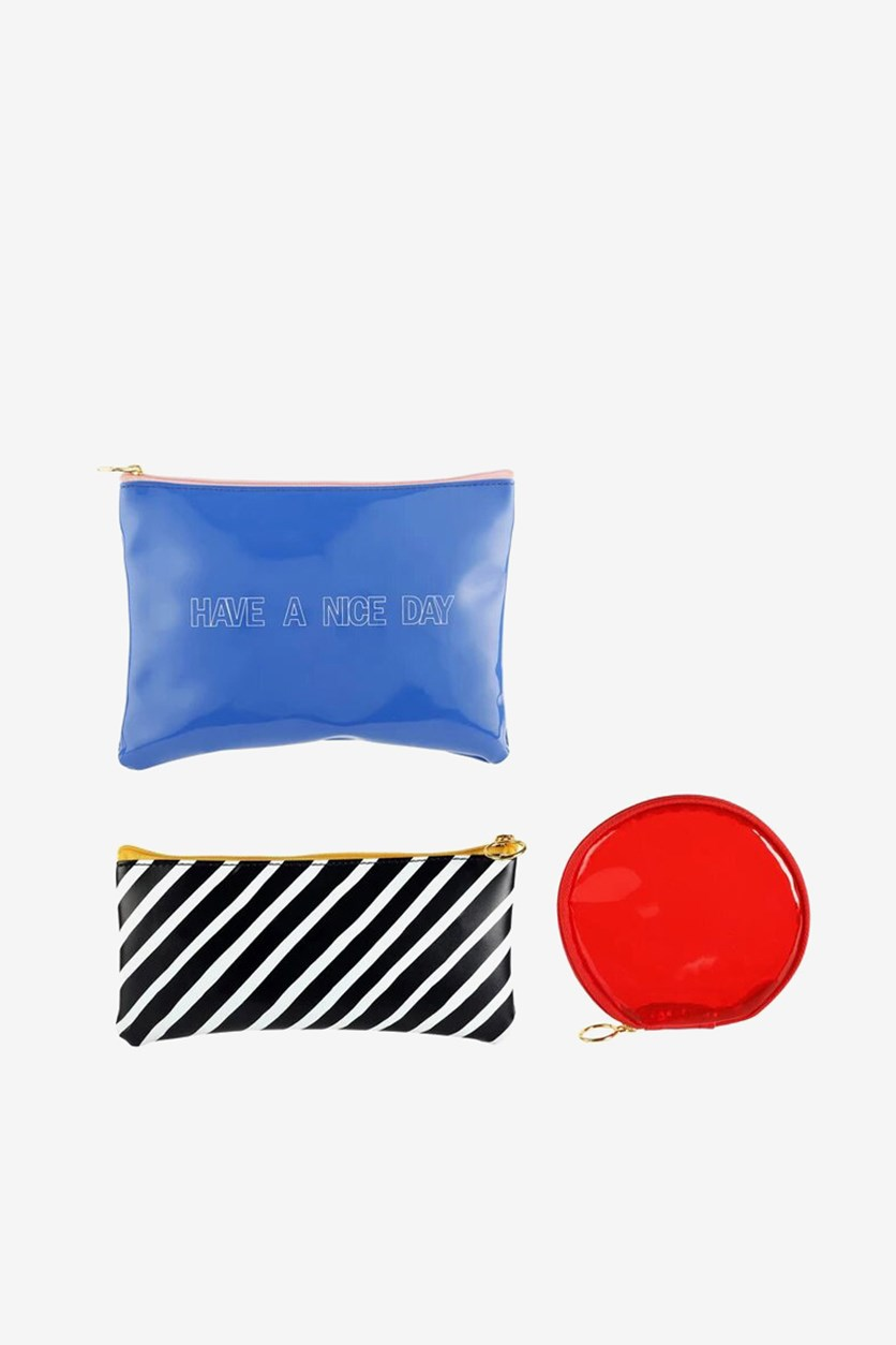 Carry All Pouches - Set of 3, Blue/Red