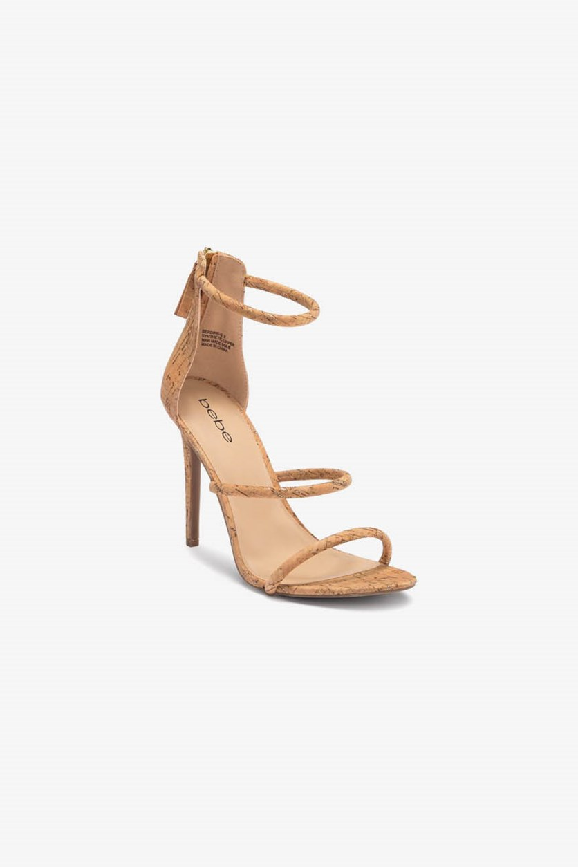Berdine Strappy Stiletto Sandal, Tan/Gold