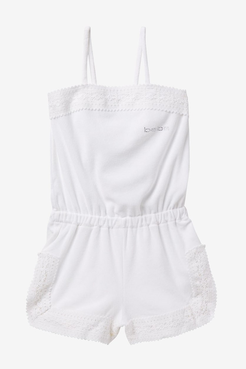 Girls' Textured Rompers, White