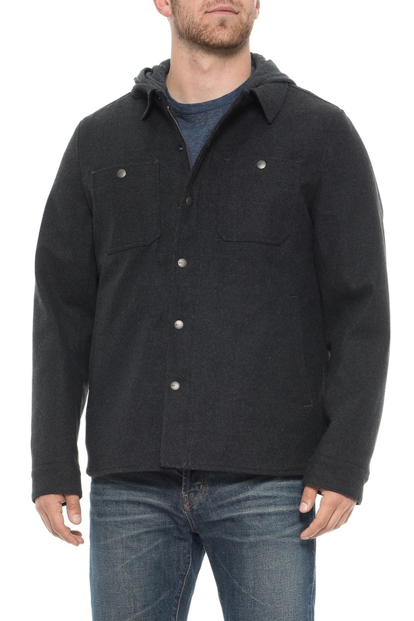 Men's Two-Pocket Hooded Shirt Jacket, Charcoal