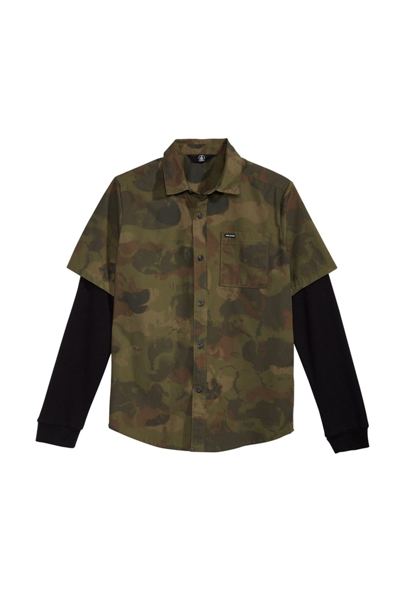 Big Boys Thornton Camo-Print Shirt, Olive Combo
