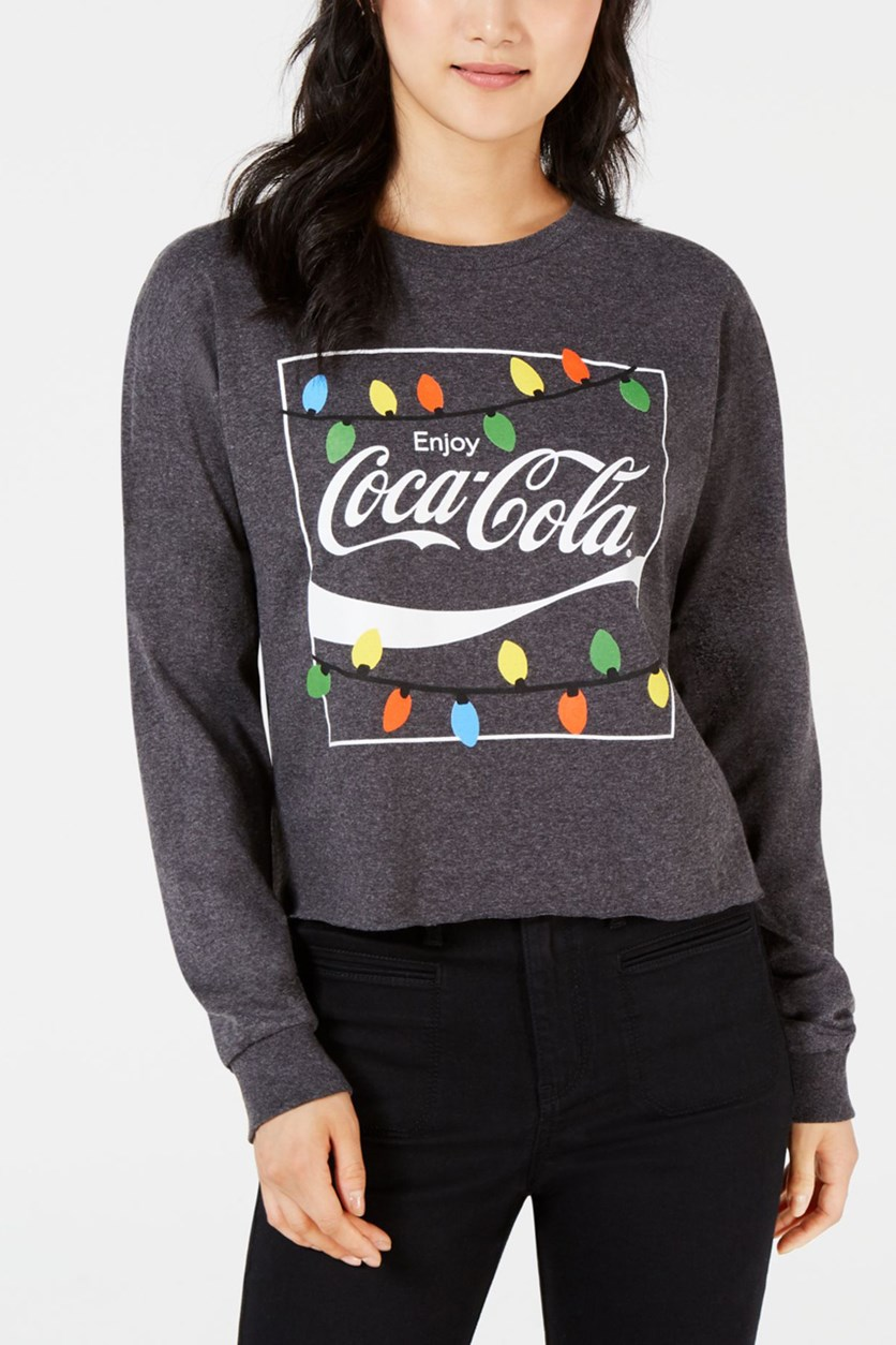 Juniors' Coca-Cola Lights Graphic T-Shirt, Charcoal Heather
