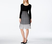 Calvin Klein Pleated Contrast Sweater Dress, Black/Gray