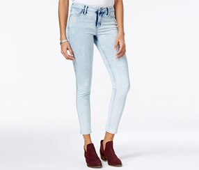 Celebrity Pink Juniors' Body Sculpt The Lifter Lace-Up Skinny Ankle Jeans, Blue