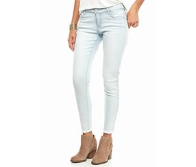Celebrity Pink Fray Hem Skinny Jeans, Light Blue